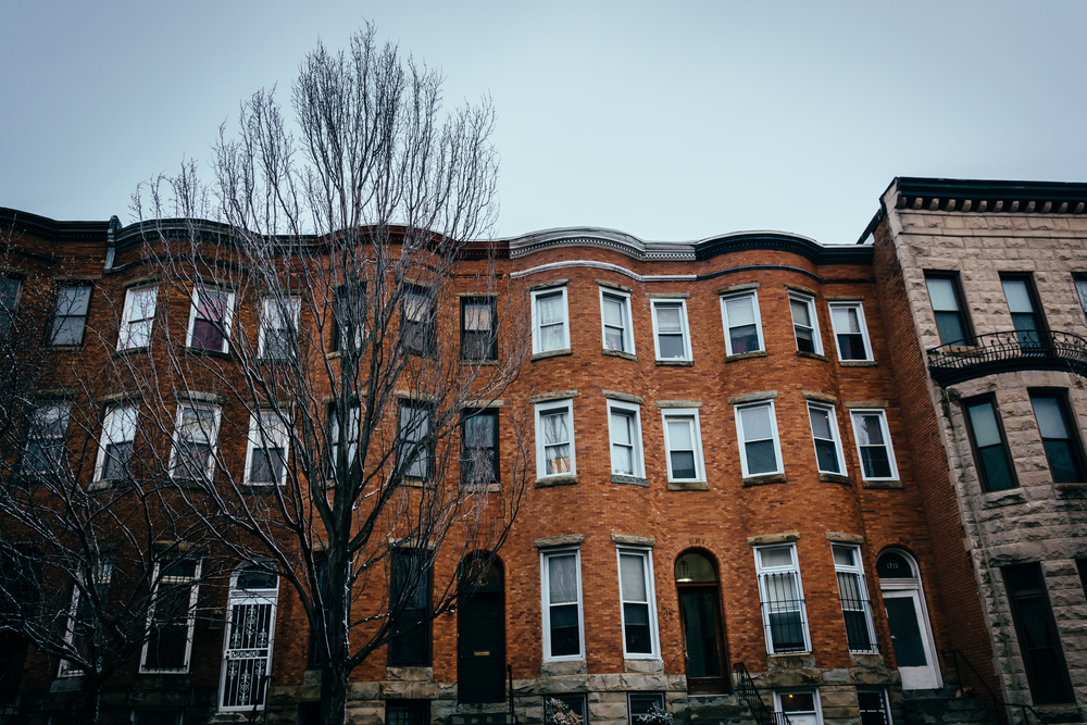 Row houses in Charles North, Baltimore, Maryland.